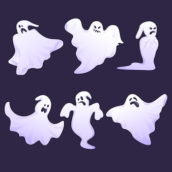 Ensemble de fantômes d'halloween design plat