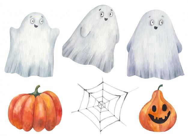 Ensemble de fantômes d'halloween et d'illustrations aquarelles