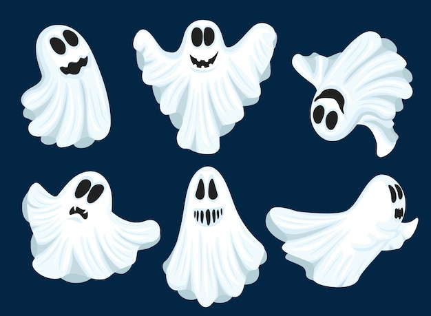 Ensemble de fantômes d'halloween.