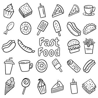 Ensemble de fast-food doodle dessinés à la main, dessin au trait fait à la main. menu restaurant