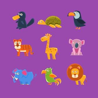 Ensemble de faune d'animaux exotiques
