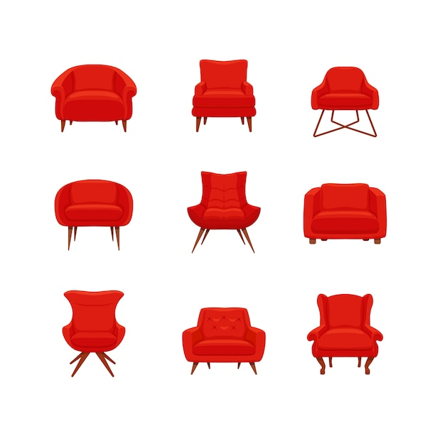 Ensemble de fauteuils colorés