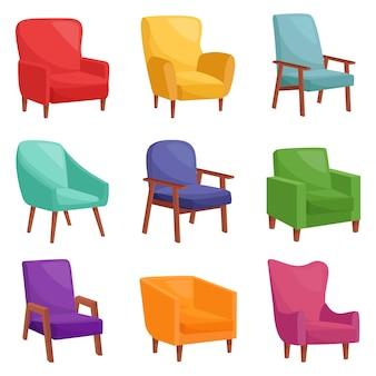 Ensemble de fauteuils confortables, illustration vectorielle