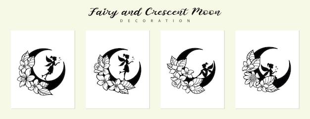 Ensemble de fée et croissant de lune