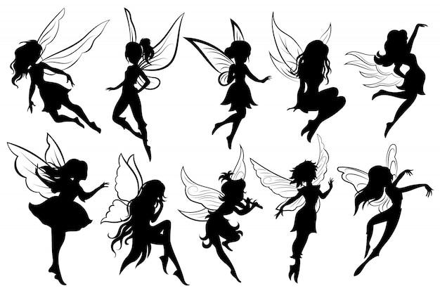 Ensemble de fées. collection de silhouettes de fées de filles.