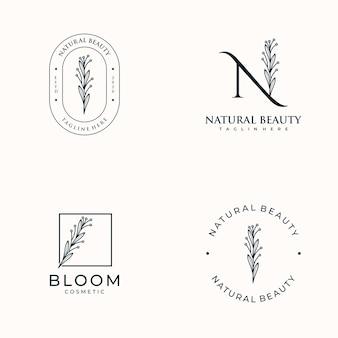 Ensemble de féminin dessiné à la main, logo pour salon spa, boutique de beauté des cheveux de la peau et cosmétique,