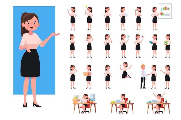 Ensemble de femme d'affaires qui travaille. femme d'affaires en caractères de personnes design plat.