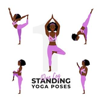 Ensemble de femme dans des poses de yoga