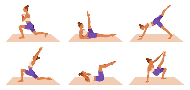 Ensemble de femme d'entraînement. fille faisant des exercices de fitness, d'aérobie et de yoga.