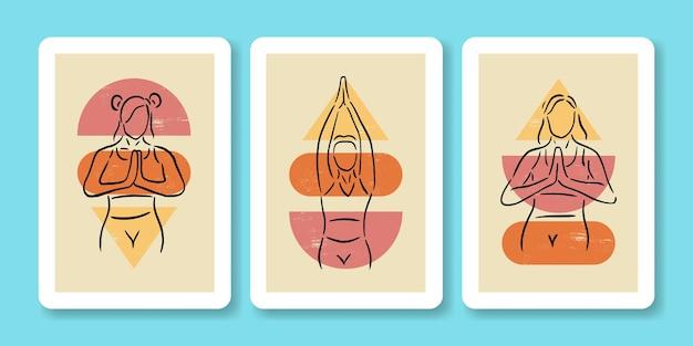 Ensemble, de, femme, faire, yoga, pose, affiche, illustration