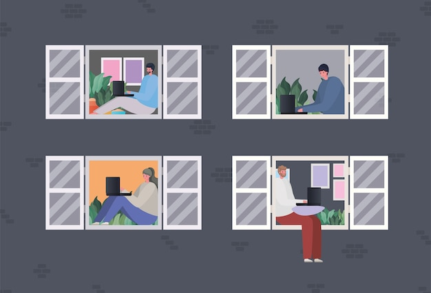 Ensemble de femme et d'hommes avec ordinateur portable travaillant à la conception de la fenêtre du thème travail à domicile