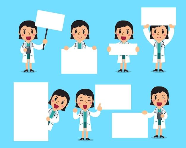 Ensemble de femme médecin avec tableau blanc