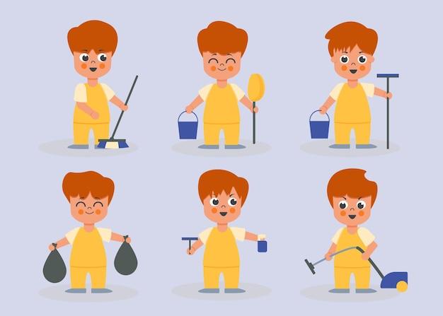Ensemble de femme de ménage mâle dans différentes actions de personnages de dessins animés, illustration isolée
