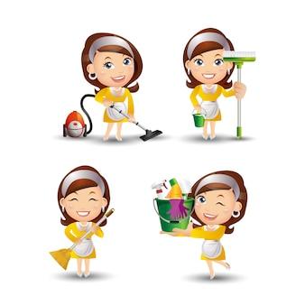 Ensemble de femme de ménage avec des poses différentes