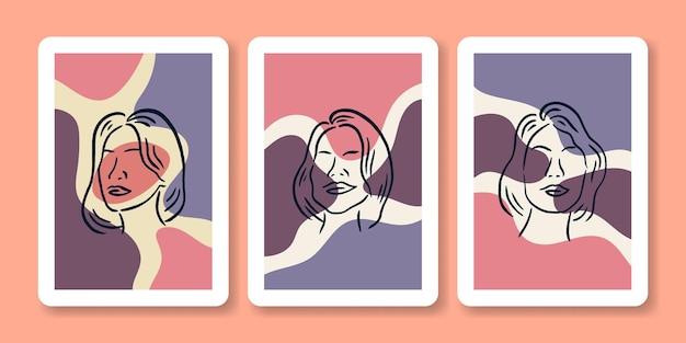 Ensemble, de, femme, tête, portrait, affiche, illustration
