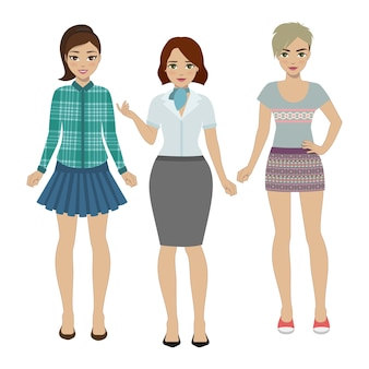 Ensemble de femmes dans des vêtements différents isolé sur blanc