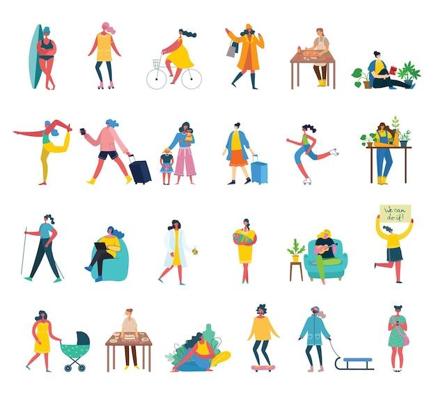 Ensemble de femmes avec différentes activités et signes au design plat