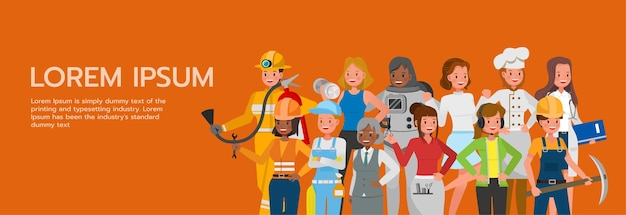 Ensemble de femmes groupent différents emplois et professions sur la conception de vecteur de caractère de fond orange. fête du travail.