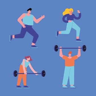 Ensemble de femmes et d'hommes faisant du sport
