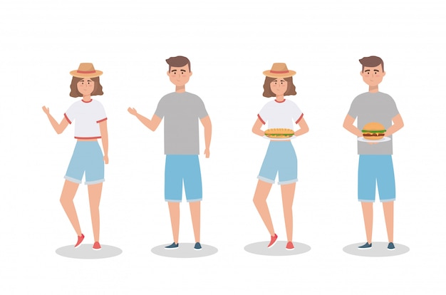 Ensemble de femmes et d'hommes avec sandwinch et hamburger