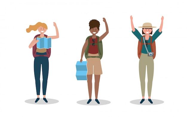 Ensemble de femmes portant un chapeau avec sac à dos et carte mondiale