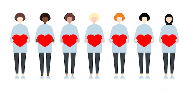 Ensemble de femmes de vecteur de race diverses tenant des coeurs. saint valentin style plat mignon et simple