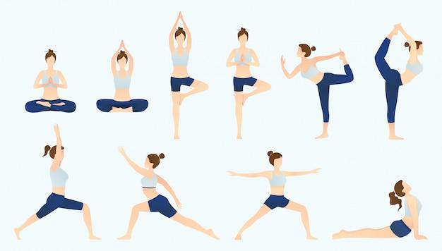 Ensemble de femmes de yoga sur un style plat