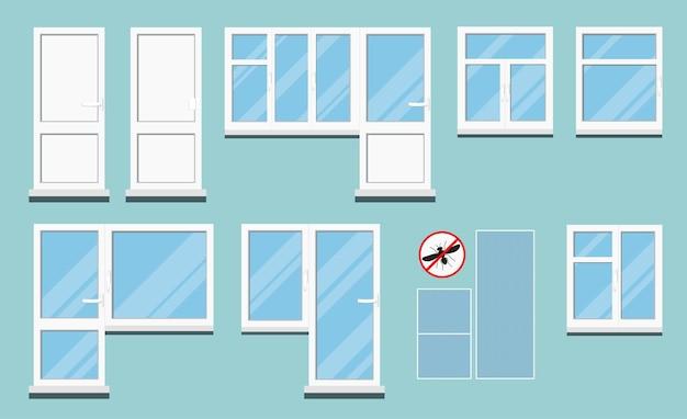 Ensemble de fenêtres de chambre pvc en plastique blanc isolé avec poignée.