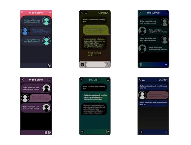 Ensemble de fenêtres de chatbot. mode nuit noire. interface utilisateur de l'application avec dialogue en ligne. conversation avec un robot assistant