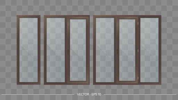 Ensemble de fenêtres métal-plastique avec verres transparents. fenêtres modernes dans un style réaliste.