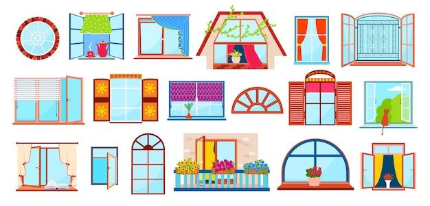 Ensemble de fenêtres avec rebords de fenêtre