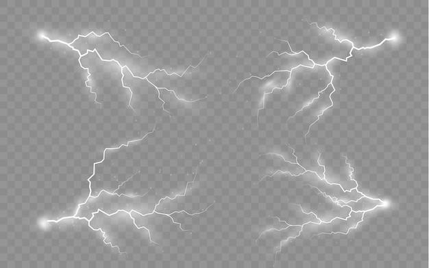 Ensemble de fermetures éclair orage et effet foudre
