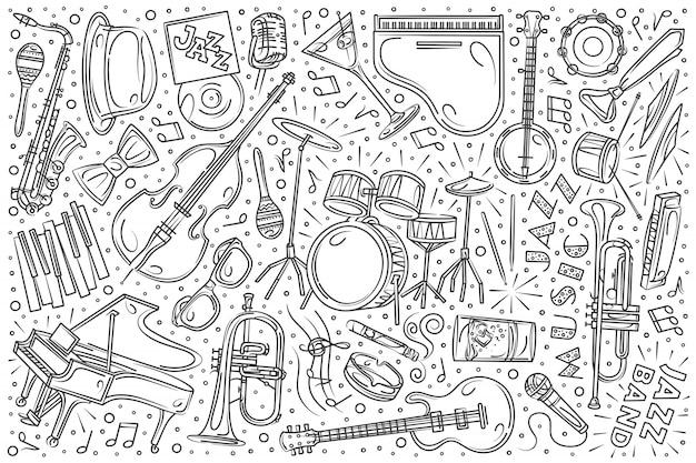 Ensemble de festival de jazz dessiné à la main doodle