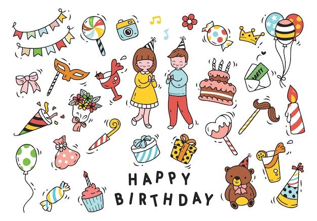 Ensemble de fête d'anniversaire dans le style de doodle isolé sur fond blanc