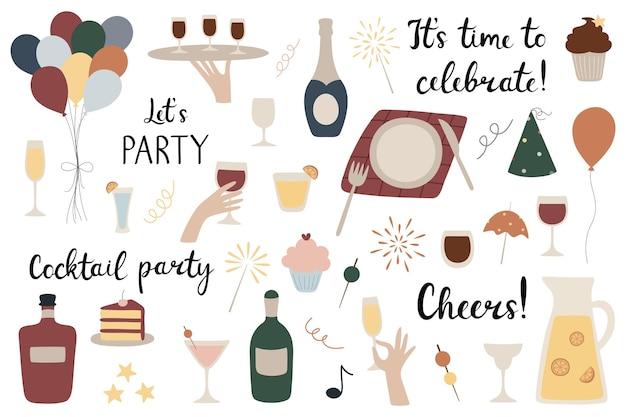 Un ensemble de fête ballons verres à alcool cocktails champagne vin gâteau cupcake limonade
