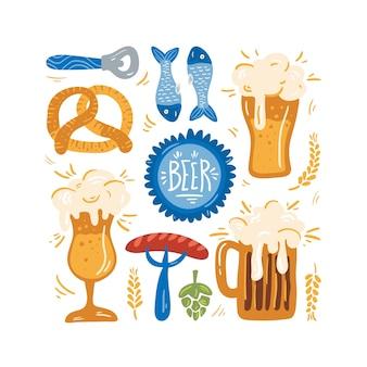 Ensemble de fête de la bière.