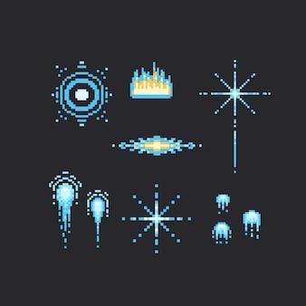 Ensemble de feu d'artifice bleu pixel