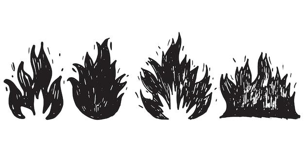 Ensemble de feu dessiné à la main et boule de feu isolé sur fond blanc. illustration vectorielle de griffonnage.