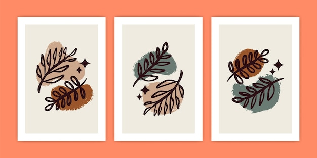 Ensemble de feuille de boho abstraite et illustration d'affiche de plante