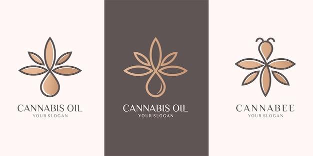 Ensemble de feuille de cannabis, huile, papillon. inspiration de conception de logo. vecteur premium