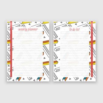 Ensemble de feuille de papier au format a4 avec planificateur hebdomadaire et liste de modèles de notes