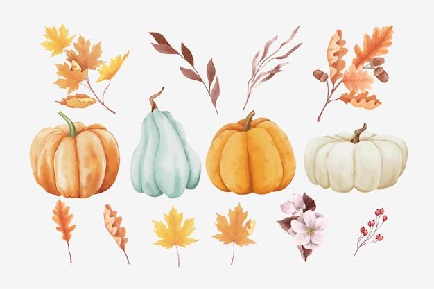 Ensemble de feuilles d'automne et de citrouilles dans un style aquarelle
