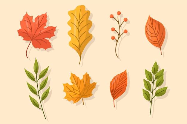 Ensemble de feuilles d'automne design plat