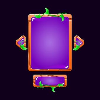 Ensemble de feuilles en bois brillant panneau d'interface utilisateur de jeu pop-up pour les éléments d'actif gui