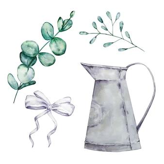 Ensemble de feuilles et de branches rondes d'eucalyptus aquarelle, arrosoir et arc. articles d'eucalyptus et de dollars en argent peints à la main. illustration florale isolée sur fond blanc.