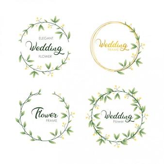 Ensemble de feuilles de cadre d'invitation de mariage