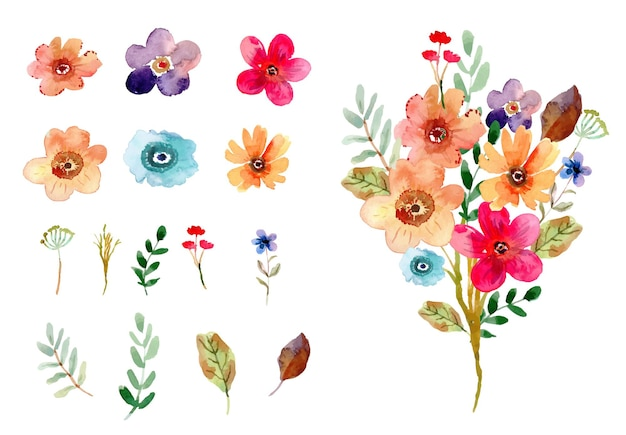 Ensemble de feuilles de fleurs isolées aquarelle florale