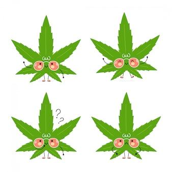 Ensemble de feuilles d'herbe de marijuana heureux mignon