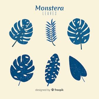 Ensemble de feuilles de monstera plat