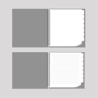 Ensemble de feuilles de papier a4, a5 avec des ombres, maquette de page papier réaliste.